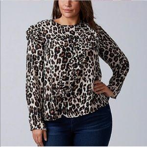 NWT Lane Bryant Leopard Ruffle Bouse